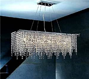 GOWE Modern Rectangular Raindrop Crystal Chandelier Pendant Lamp Lighting Fixture for Dining Room Lampshade Color:white