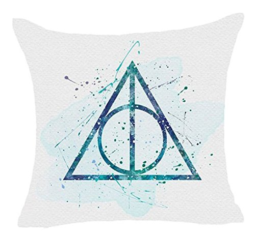 1 Piece 18 x 18 Teal Blue Harry Potter Theme Throw Pillow Cover, White Deathly Hallows Pattern Witches Wizards Hogwarts School Of Witchcraft And Wizardry Magic Wands Harrypotter Movie Series, Cotton