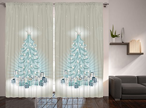 Christmas Decor Curtain Ornaments Holiday Design Bedroom Living Room Dining Room Kids Youth Room Panels One of a Kind 2 Panel Set – Machine Washable Silky Satin Window Treatment, White Gray Teal