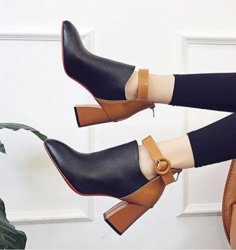 Martin The And Point Boots English And Low Bare Belt Boots Fan High Clip KHSKX Heel Shoes Black Versatile Girl Coarse Short Free 38 Brown And Fine Lint xwn0tq6pz7