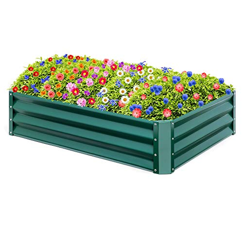 Best Choice Products 47×35.25x11in Outdoor Metal Raised Garden Bed for Vegetables, Flowers, Herbs, Plants – Green