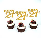 "Set of 12 ""Happy 21th"" Cupcake Topper, Set of 12 Golden Glitter Cupcake Toppers -Cupcake Topper Birthday Decoration (21th Birthday)"