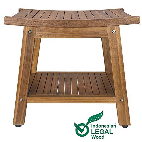 Solid Teak Footstool - Teak Shower Bench, Teak Shower Stool, 20