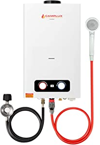 Camplux 2.64 GPM Tankless Propane Water Heater, Outdoor Portable Gas Water Heater with Overheating Protection, Instant Propane Hot Water Heater for RV, Camping, Cabins, Barns, White
