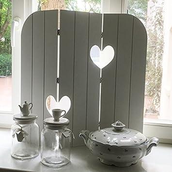 Paravent HEARTS weiß Fensterparavent Sichtschutz Fenster Deko Holz ...