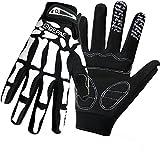 QEPAE Breathable Auto Racing Gloves Anti-Slip Full Finger Gloves for Biking Running Sporting Weightlifting Hunting Shooting Training, Medium, Skeleton Pattern