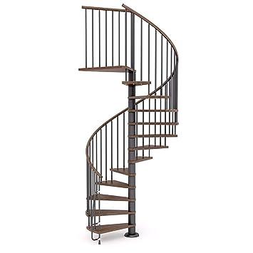 Escalera de caracol de madera mobirolo Nova Nogal y negro varios ...
