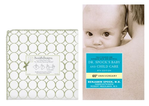 SwaddleDesigns Ultimate Receiving Blanket with Dr. Spock's Baby & Child Care Guide, Mod Circles on White / Sage ()