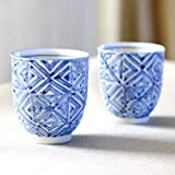Kutani set teacup checkered exposed crest