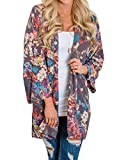 Hibluco Women's Floral Kimono Long Cardigan Summer Blouse Casual