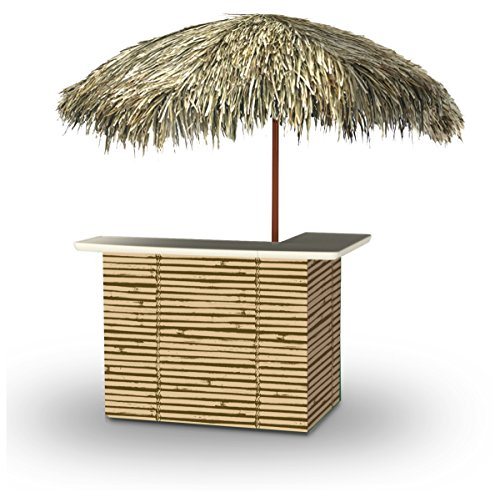 Best of Times 2001W2302P Luau Tiki-PALAPA Portable Bar and 8 ft Tall Square Umbrella, One Size, Brown