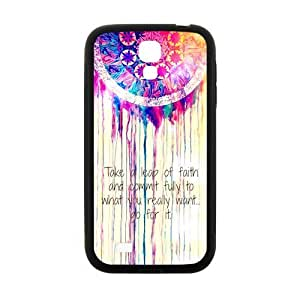 Colorful Dream Catcher Samsung Galaxy S4 I9500 Case Cover TPU Laser Technology Cloud Feather Catcher take a Leap of faith and commit fully to what you really want go for it Quotes
