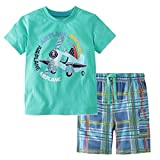 Heris Little Boys' Summer Cotton Short Sleeve Clothing Sets (7T, Green)