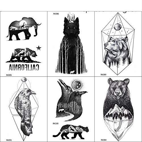yyyDL Tatuaje temporal de lobo del bosque negro pegatinas hombres ...
