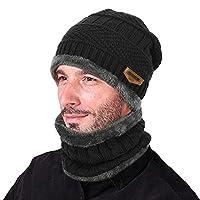 VBIGER bufanda con gorro de invierno de 2 piezas con gorro cálido y punto grueso de calavera para hombre, mujer, talla única, negro