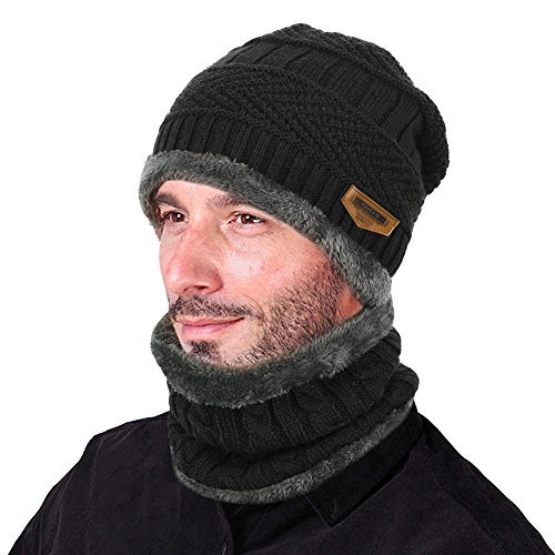 Mens Winter Hat - VBIGER Beanie Hat Scarf Set Knit Hat Warm Thick Winter Hat For Men (Black)