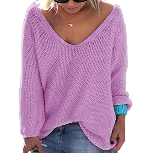 Honghu Loose Manches Longues Collier V Garder au Chaud Pull Femme Casual Pullover Sweater Violet