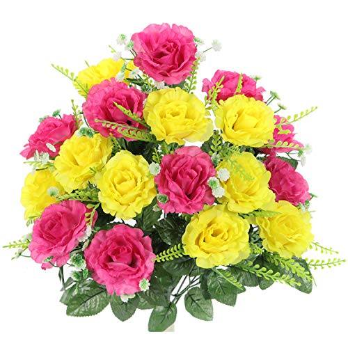 Admired By Nature ABN1B002-YW-HOT PK Artificial Rose Flower Bush Yellow/Hot Pink ()