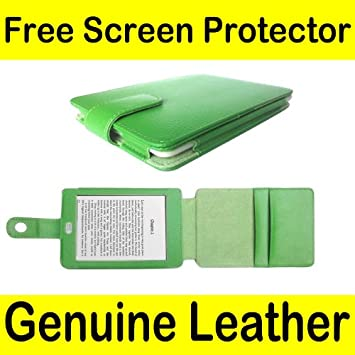 Mochie (tm) Genuine Leather Pouch Case Cover Jacket for Amazon Kindle Touch  (Notepad style) Green