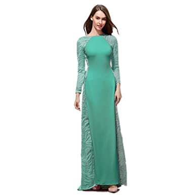 cotyledon Womens Formal Dresses Long Sleeve Long Evening Prom Dress Slim Fit
