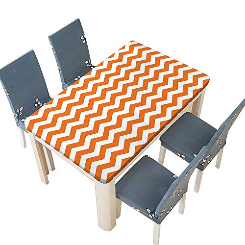 (PINAFORE Natural Tablecloth Halloween Pumpkin Color Chevron Traditional Holidays Autumn Celebrate for Home Use, Machine Washable W45 x L84.5 INCH (Elastic)