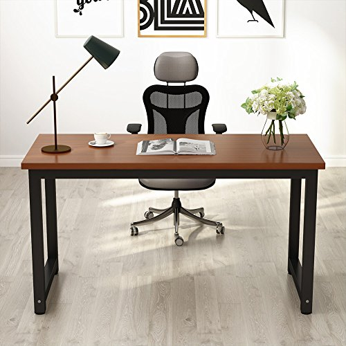"Price comparison product image 55"" Computer Desk,  LITTLE TREE Large Office Desk Study Writing Desk / Table Workstation for Home Office,  Metal Frame Teak"