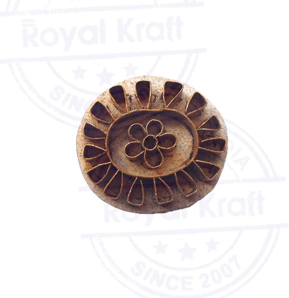 Royal Kraft Indien Bois Timbres Laiton Floral Designs Argile Impression Bloc