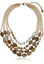 "Kenneth Cole New York ""Natural Wonder"" Mixed Faceted and Shell Bead Multi-Row Necklace, 15''+3'' Extender"
