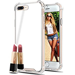 Prosidio TM - Apple iPhone 8 Plus iPhone 7 Plus Mirror Cases for Girls Women - Protective Silicone Slim Case New Rubber Bumper Cool Ultra Thin Shockproof Grip Phone Case Cute Stylish Silver Back Cover