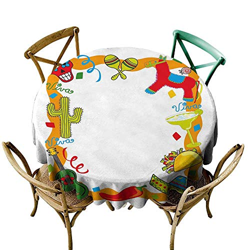 longbuyer Round Tablecloth Fitted Fiesta,Cartoon Drawing Style Mexican Pinata Taco Chili Pepper Sugar Skull Pattern Guitar,Multicolor D54,for Accent -