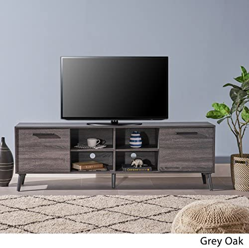 Christopher Knight Home Dontae Mid-Century Modern Faux Wood Overlay TV Stand, Grey Oak