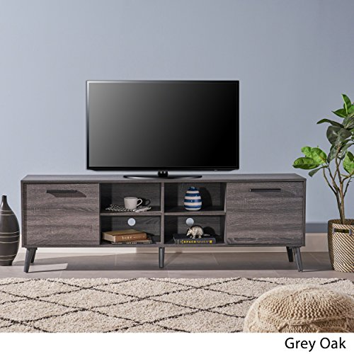 Christopher Knight Home Sade Mid Century Modern Faux Wood Overlay TV Stand, Grey Oak