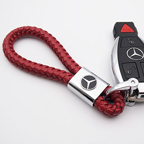 US85 For Mercedes-Benz Logo Emblem Key Chain Key Ring Metal Alloy BV Style Leather Gift Decoration Accessories AMG (Red)