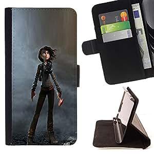 BullDog Case - FOR/LG OPTIMUS L90 / - / WOMAN CARTOON CHARACTER DYSTROPHIC /- Monedero de cuero de la PU Llevar cubierta de la caja con el ID Credit Card Slots Flip funda de cuer