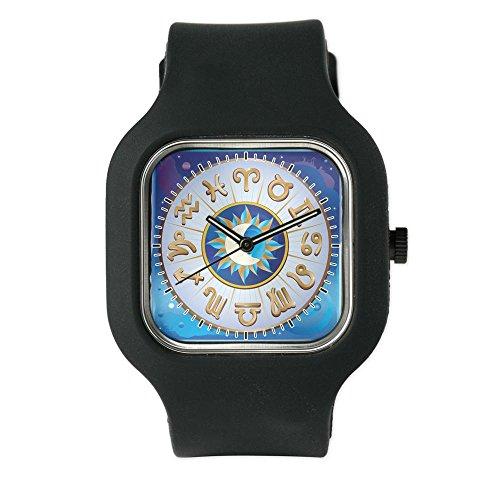 Black Fashion Sport Watch Zodiac Astrology Wheel