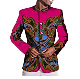 Vska Mens Mulit Color Africa Dashiki Single Breasted Coat Slim Fit Blazer 2 M