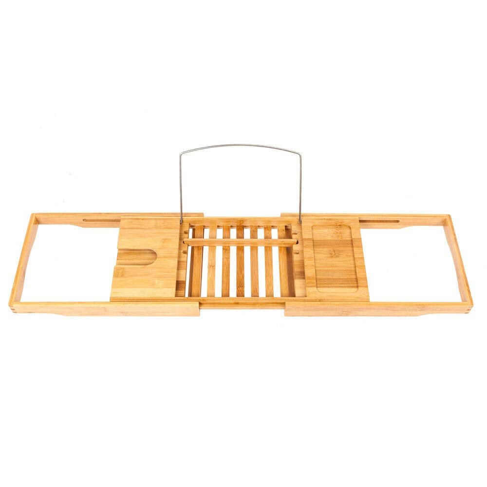AZAMON Comfortable Moso Bamboo Material Bathtub Rack Caddy Shower Book Tray Shelf Wine Holder Wood Color