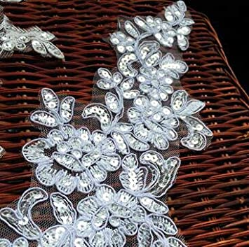 6 Pieces//3 Pairs 2711Cm Bling Sequin Embroidered Bridal Dress Wedding Decorative Sewing Lace Applique Trim Craft,red