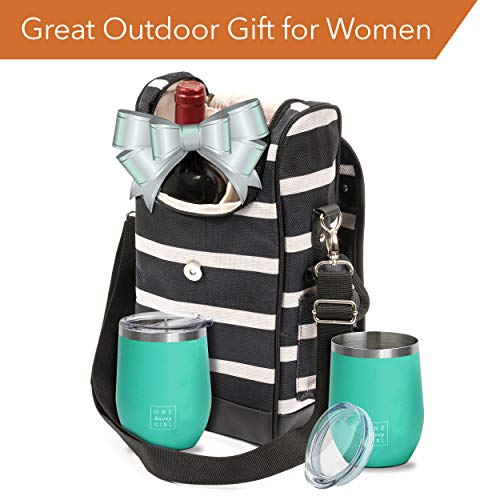 One Savvy Girl Wine Tote Bag with Stainless Steel Stemless Wine Glasses - 2 Bottle Wine Carrier Purse - Perfect for Travel, Events, Beach, Pool, Picnic & More - Great Gift for Women and Wine Lovers by One Savvy Girl (Image #1)