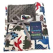 Unisex Baby Reversible Minky Dot Stroller Blanket (Choose Color) (Dinosaurs/Grey)
