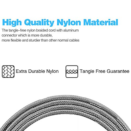 iPhone Charger,MFi Certified Lightning Cable,5 Pack(3/3/6/6/10 FT) Extra Long Nylon Braided Charging&Syncing Cord Compatible with iPhone Xs/XR/XS Max/X/7/7Plus/8/8Plus/6S/6SPlus/5/5s/5c/(Gray) by Loopilops (Image #2)