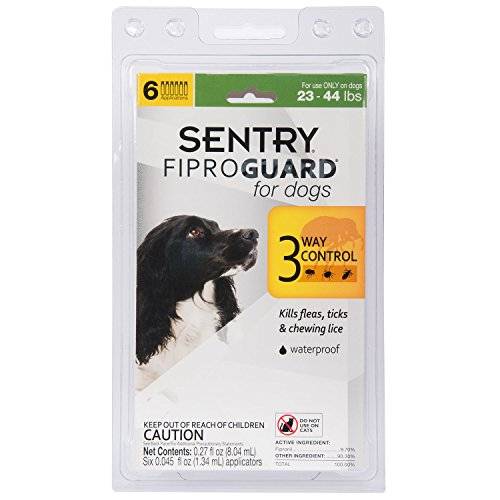 SENTRY Fiproguard for Dogs, Flea and Tick Prevention for Dogs (23-44 Pounds), Includes 6 Month Supply of Topical Flea Treatments by SENTRY Pet Care (Image #1)