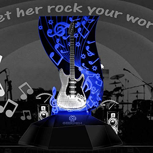Novelty Lamp, Music Note Indoor Lighting, Touch Switch Illusion Optical Table Lamp Art Music Instrument Guitar 3D Line Lamp LED Decorative Night Light Guitarist Music Room Decor Unique Gift Idea for M by LIX-XYD (Image #3)