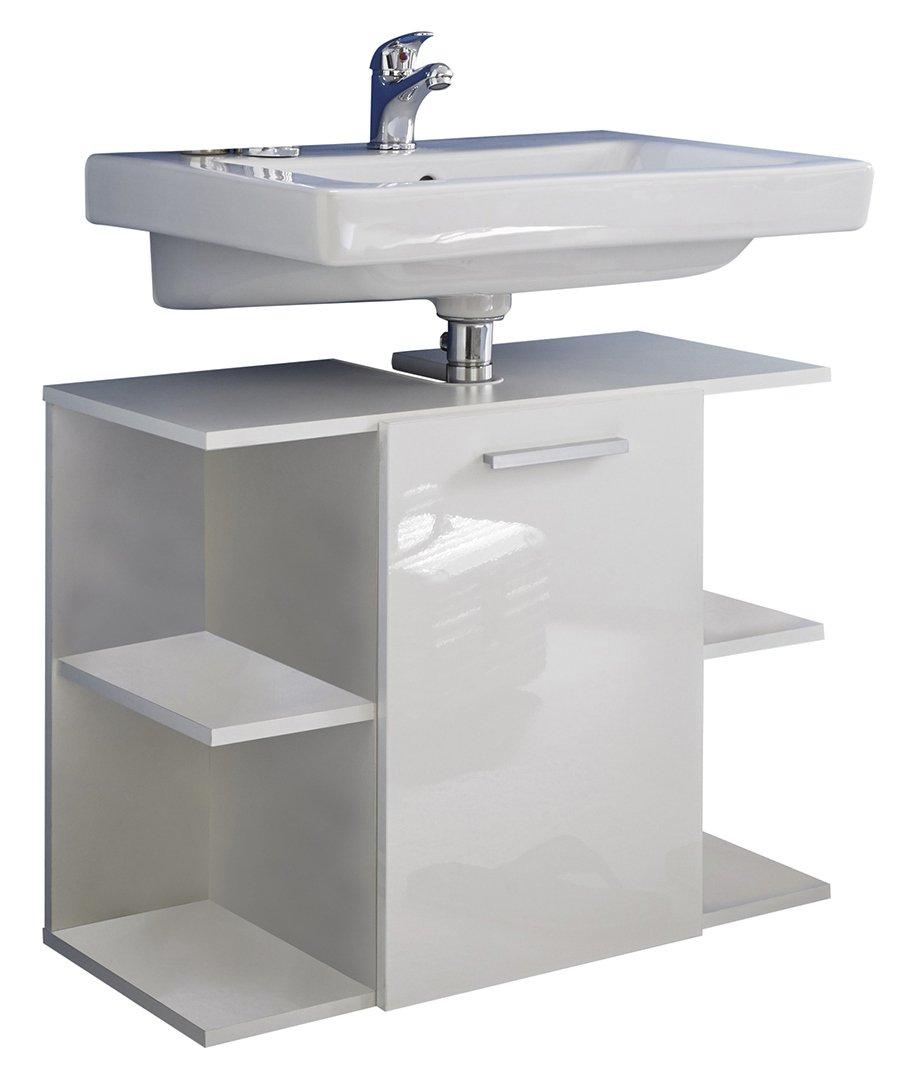 furnline salle de bain meuble sous évier brillant Clé - blanc