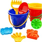 Amurleopard Child Beach Toys Sand Box for Digging Summer Beach Playset including 6 toys