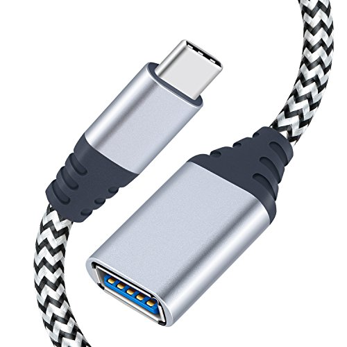 USB C OTG Cable, Pofesun Nylon Braided USB 3.1 Type C Male to USB 3.0 A Female Adapter for Macbook pro, Samsung Galaxy Note 8 S8 S9 Plus, Google Pixel XL,Nexus 5X/6P, Motorola Moto Z/Force, 0.5ft