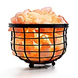 Amethya Natural Himalayan Salt Lamp, Hand Carved Pink Salt Lamp (Iron Basket)