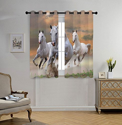 Stylish Window Curtains,Animal Decor,Stallion Horses Running on a Mystical Sky Background Equestrian Male Champions Print,White Orange,2 Panel Set Window Drapes,for Living Room Bedroom Kitchen Cafe by iPrint