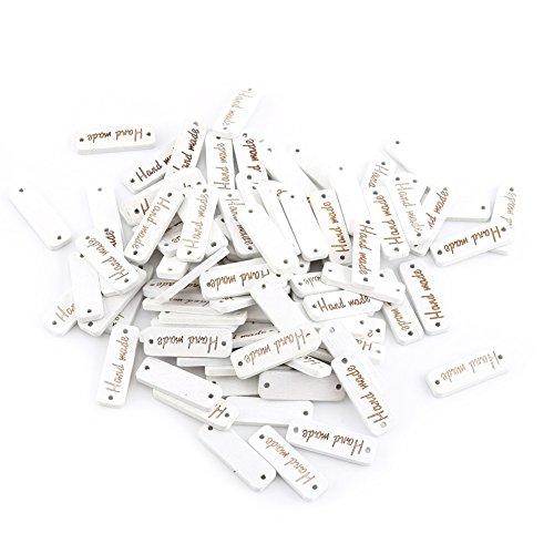Yosoo Botón De Costura De Madera Para El Arte Del Libro De Recuerdos Con La Escritura Con 2 Agujeros ( Color : Blanco )