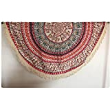 Auwer New Round Bohemian Tassel Beach Throw Tapestry Wall Art Hanging Pool Home Shower Towel Blanket Mandala Table Cloth Tablecover Roundie Yoga Mat Picnic Mat Bedspread Collage Dorm (Red)